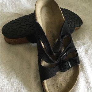 Birkenstock women's black suede sandals size 37 EU